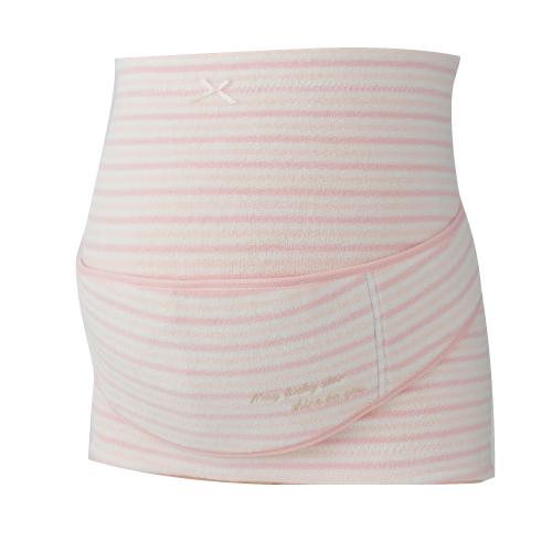 HB8169 ふわふわパイルボーダー妊婦帯(M・L) ピンク