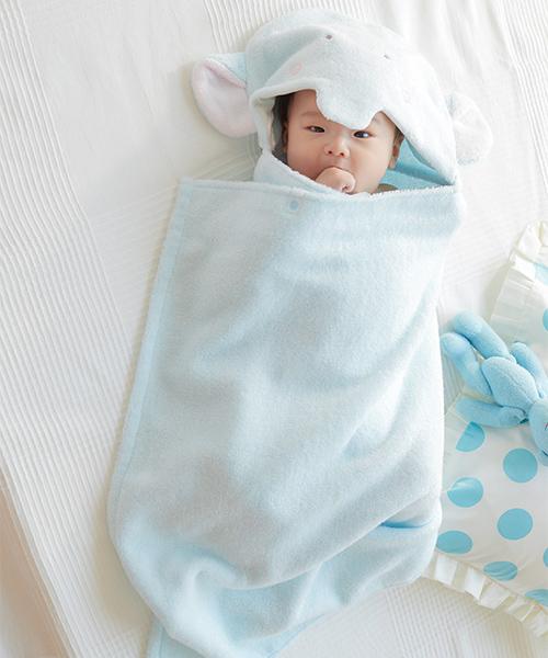 INUJIRUSHI Baby 泉州産やわらか無撚糸 フード付きバスタオル