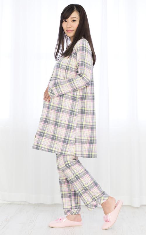 ◎254-8703 fairy NIGTY 腹巻付チェック柄パジャマ(授乳口付き)