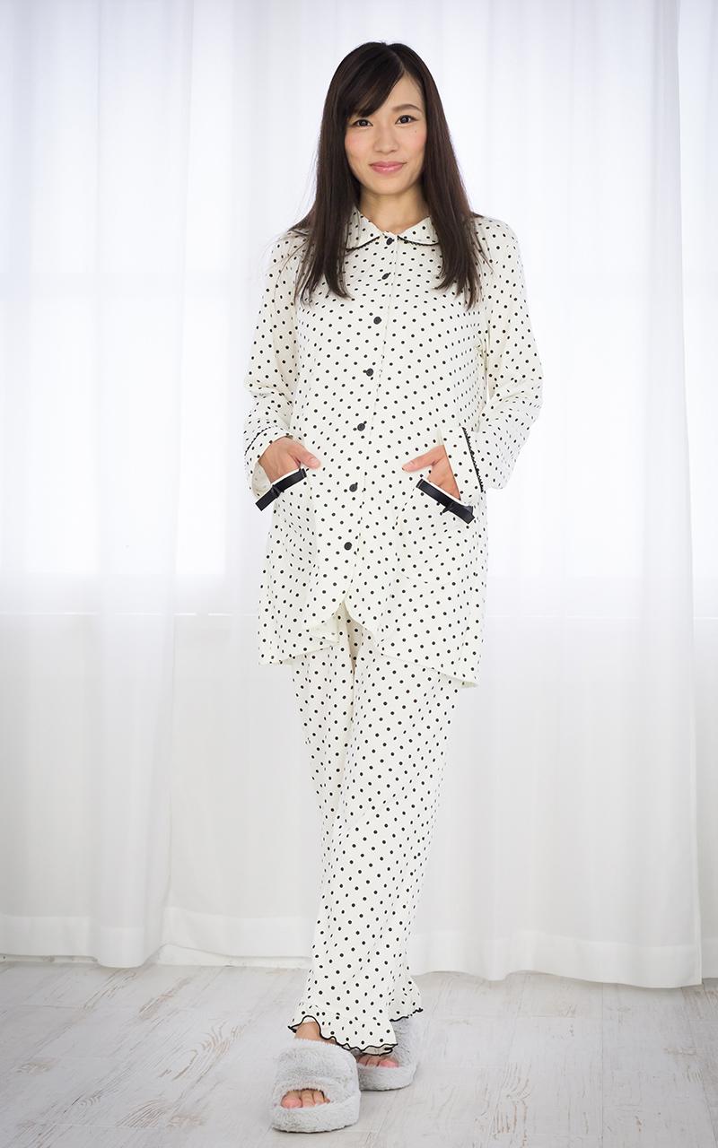 ◎254-8704 マタニティ 飾り リボン ポケット 水玉 プリント パジャマ(フロントスナップタイプ)上下 セット