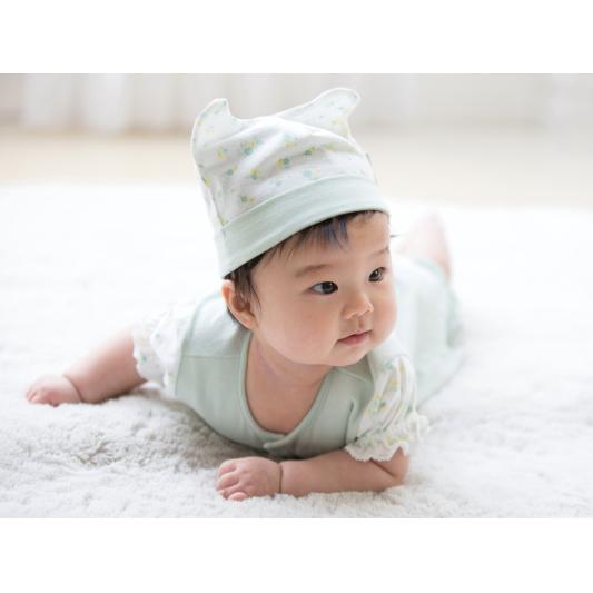 □B362001 INUJIRUSHI Baby 帽子 天竺 総柄