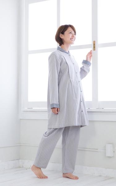 ◎264-8702 fairy NIGTY ストライプ柄パジャマ(授乳口付)