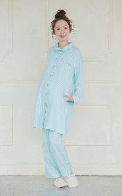 ◎274-8701 fairy NIGTY ストライプ腹巻パジャマ(フロント授乳タイプ)