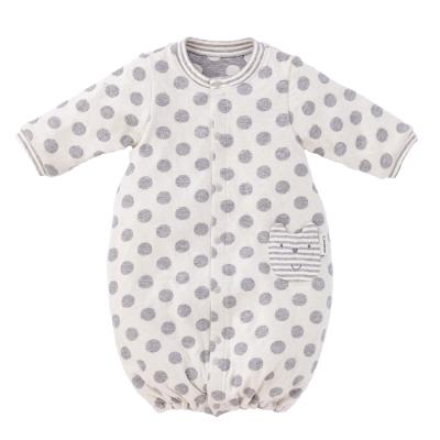 ◎B276004 INUJIRUSHI Baby ドレス&カバーオール 両面選針水玉柄×接結ボーダー